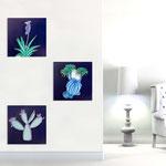 Quadri Floreali </br> Colore: blu petrolio - decoro piante turchese viola  </br> Codice: SI-127 | Misura: tris 45x45 cm/cad