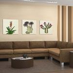 Quadri Floreali </br> Colore: sabbia - decoro piante verde  </br> Codice: SI-127 | Misura: tris 45x45 cm/cad