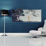 Quadri Paesaggi </br> Colore: blu petrolio - grigio luce/decoro grigio </br>  Codice: SI-177   Misura: 170x70 cm