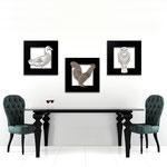 Quadri Paesaggi </br> Colore: nero - applicazione bianco e bronzo/con veri cristalli </br>  Codice: SI-128   Misura: tris 45x45 cm/cad