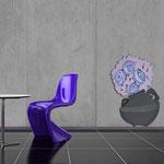 Vasi </br> Colore: vaso antracite - decoro fiore lilla bluette </br> Codice: SI-182-C | Misura: 56x83 cm