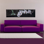 Quadri Floreali </br> Colore: nero - decoro fiore bianco fucsia </br> Codice: SI-087-B | Misura: 152x52 cm </br> Codice: SI-087 | Misura: 152x42 cm