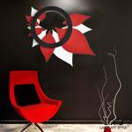 Quadri Floreali </br> Colore: bianco rosso/nero stucco </br> Codice: SI-209 | Misura: 90x90 cm