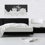 Quadri Floreali </br> Colore: decoro nero - bianco laccato </br> Codice: SI-163 | Misura: 180x90 cm