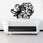 Quadri Floreali </br> Colore: nero laccato - decoro fiore nero </br> Codice: SI-100 | Misura: 150x100 cm </br> Codice: SI-100M | Misura: 100x67 cm