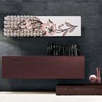 Quadri Floreali </br> Colore: panna - decoro fiore rosa antico </br> Codice: SI-075-B | Misura: 152x52 cm </br> Codice: SI-075 | Misura: 152x42 cm
