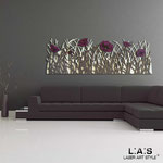 Quadri Floreali </br> Colore: sabbia - grigio marrone - decoro fiore porpora violetto </br> Codice: SI-214 | Misura: 180x55 cm