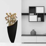 Vasi </br> Colore: vaso nero - decoro fiore arancio </br> Codice: SI-193-F | Misura: 55x125 cm