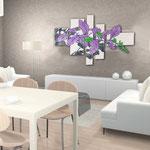 Quadri Floreali </br> Colore: panna - decoro foglie viola </br> Codice: SI-136 | Misura: 150x100 cm </br> Codice: SI-136M | Misura: 100x67 cm