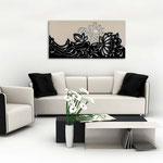 Quadri Floreali </br> Colore: decoro cipria - nero laccato </br> Codice: SI-163 | Misura: 180x90 cm