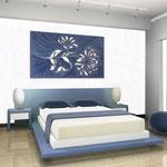 Quadri Floreali </br> Colore: blu distante - decoro azzurro </br> Codice: SI-137 | Misura: 150x100 cm </br> Codice: SI-137M | Misura: 100x67 cm