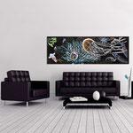 Quadri Paesaggi </br> Colore: Nero decoro multicolor </br>  Codice: SI-129   Misura: 180x60 cm