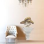 Vasi </br> Colore: vaso bianco - decoro pianta sabbia nocciola </br> Codice: SI-192-H | Misura: 73x123 cm