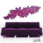 Quadri Floreali </br> Colore: violetto porpora/glitter rosa </br> Codice: SI-208 | Misura: 180x60 cm