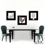 Quadro Shabby Chic </br> Colore: nero applicazione bianco e bronzo / con veri cristalli </br> Codice: SI-128 | Misura: tris 45x45 cm/cad