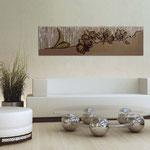 Quadri Floreali </br> Colore: grigio marrone - decoro fiore viola marrone </br> Codice: SI-087-B | Misura: 152x52 cm </br> Codice: SI-087 | Misura: 152x42 cm