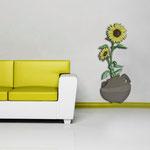 Vasi </br> Colore: vaso grigio marrone - decoro fiore giallo </br> Codice: SI-179-C | Misura: 52x133 cm