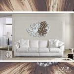 Quadri Floreali </br> Colore: bianco laccato decoro fiore grigio marrone </br> Codice: SI-100 | Misura: 150x100 cm </br> Codice: SI-100M | Misura: 100x67 cm