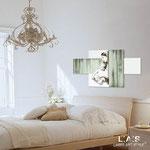 Quadro Shabby Chic </br> Colore: bianco - Inserti verde shabby </br> Codice: SI-162 | Misura: 120x70 cm