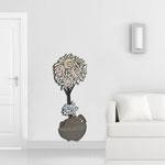 Vasi </br> Colore: vaso grigio marrone - decoro fiore bianco verde militare salmone </br> Codice: SI-181-C | Misura: 56x135 cm