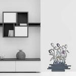 Vasi </br> Colore: vaso antracite - decoro fiore viola </br> Codice: SI-193-G | Misura: 63x74 cm
