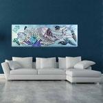 Quadri Paesaggi </br> Colore: bianco - decoro azzurro </br>  Codice: SI-129   Misura: 180x60 cm