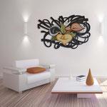 Quadri Floreali </br> Colore: marrone - decoro fiore mattone arancio </br> Codice: SI-167 | Misura: 150x100 cm