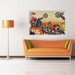 Quadri Paesaggi </br> Colore: cielo arancio rosso - decoro fiori rosso arancio </br>  Codice: SI-115   Misura: 150x100 cm  </br>  Codice:  SI-115M   Misura: 100x67 cm
