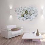 Quadri Floreali </br> Colore: bianco - decoro fiore cipria </br> Codice: SI-167 | Misura: 150x100 cm
