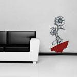 Vasi </br> Colore: vaso rosso - decoro fiore bianco nero </br> Codice: SI-179-A | Misura: 54x122 cm