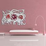 Quadri Floreali </br> Colore: bianco - decoro fiore bianco rosso </br> Codice: SI-165 | Misura: 150x100 cm