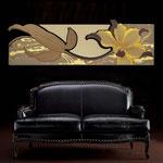 Quadri Floreali </br> Colore: grigio marrone - decoro fiore ocra - centrale nocciola </br> Codice: SI-074-B | Misura: 180x65 cm </br> Codice: SI-074 | Misura: 180x55 cm