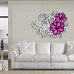 Quadri Floreali </br> Colore: panna laccato - decoro fiore fucsia </br> Codice: SI-100 | Misura: 150x100 cm </br> Codice: SI-100M | Misura: 100x67 cm