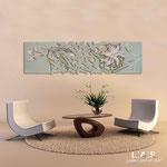 Quadri Floreali </br> Colore: grigio luce - decoro fiore rosa antico </br> Codice: SI-086-B | Misura: 152x52 cm </br> Codice: SI-086 | Misura: 152x42 cm
