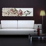 Quadri Floreali </br> Colore: panna - decoro fiore rosso mattone </br> Codice: SI-075-B | Misura: 152x52 cm </br> Codice: SI-075 | Misura: 152x42 cm