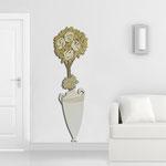 Vasi </br> Colore: vaso panna - decoro fiore oro panna </br> Codice: SI-181-D | Misura: 56x177 cm