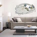 Quadri Sacri </br> Colore: grigio verde - grigio luce - decoro fiori blu  </br> Codice: SI-203 | Misura: 123x73 cm