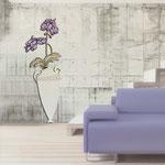 Vasi </br> Colore: vaso panna - decoro fiore prugna </br> Codice: SI-180-D | Misura: 50x138 cm