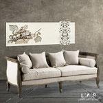 Quadri Floreali </br> Colore: grigio luce - panna - decoro marrone </br> Codice: SI-217 | Misura: 180x60 cm