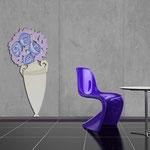 Vasi </br> Colore: vaso panna - decoro fiore lilla bluette </br> Codice: SI-182-D | Misura: 52x125 cm