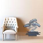 Vasi </br> Colore: vaso antracite - decoro pianta grigio blu </br> Codice: SI-192-G | Misura: 73x73 cm