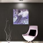 Quadri Floreali </br> Colore: bianco - decoro viola </br> Codice: SI-164 | Misura: 90x90 cm
