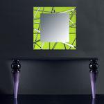 Specchiere </br> Colore: verde acido - con particolari in acciaio inox </br> Codice: SI-095Q-SP | Misura: 90x90 cm