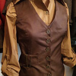 Commande My Oppa steampunk gilet femme style homme waistcoat brown