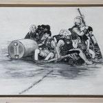 """""""Zehn auf einem Floß"""", Acryl und Grafit, 20 cm x 30 cm, gerahmt, 2013"""