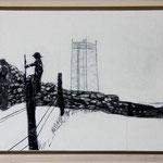 """""""Besichtigung"""", Acryl und Grafit, 20 cm x 30 cm, gerahmt, 2013"""