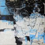"""Areal 5""Kohle, Acryl, Japanpapier auf Bw, 40 cm x 40 cm"