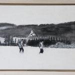 """""""Flagge zeigen"""", Acryl und Grafit, 20 cm x 30 cm, gerahmt, 2013"""