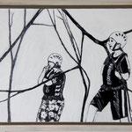 """Beobachtung"", Acryl und Grafit, 20 cm x 30 cm, gerahmt, 2013"