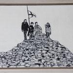 """""""Gipfeltreffen"""", Acryl und Grafit, 20 cm x 30 cm, gerahmt, 2013"""